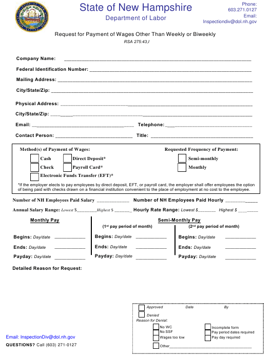"""""""Request for Payment of Wages Other Than Weekly or Biweekly"""" - New Hampshire Download Pdf"""