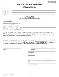 "Form NHJB-3062-D ""Landlord-Tenant Appearance"" - New Hampshire"