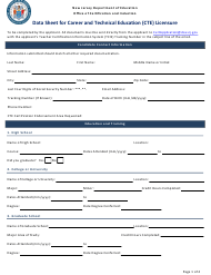 """""""Data Sheet for Career and Technical Education (Cte) Licensure"""" - New Jersey"""