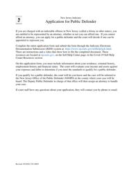 "Form 10693 ""Application for Public Defender - for Criminal Matters"" - New Jersey"