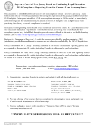 """Form 11960 """"Compliance Reporting Form for Current Year Noncompliance"""" - New Jersey, 2020"""