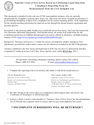 """Form 11959 """"Compliance Reporting Form for Reinstatement From the Cle Ineligible List"""" - New Jersey"""