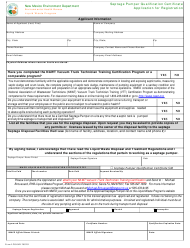 "Form LW904D ""Septage Pumper Qualification Certificate Application for Registration"" - New Mexico"