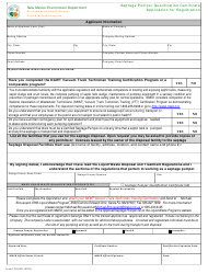 """Form LW904D """"Septage Pumper Qualification Certificate Application for Registration"""" - New Mexico"""