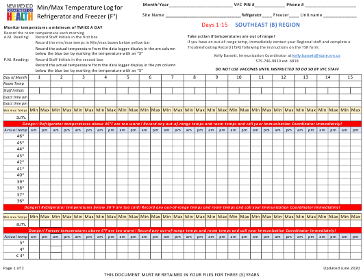 """Min/Max Temperature Log for Refrigerator and Freezer - Southeast (B) Region"" - New Mexico Download Pdf"