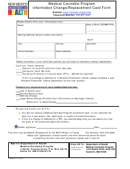 """""""Medical Cannabis Program Information Change/Replacement Card Form"""" - New Mexico"""