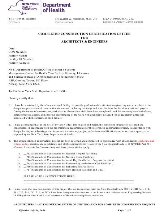 """Completed Construction Certification Letter for Architects & Engineers"" - New York Download Pdf"