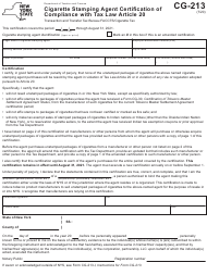 "Form CG-213 ""Cigarette Stamping Agent Certification of Compliance With Tax Law Article 20"" - New York"