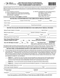 """Medical Provider Forensic Rape Examination Direct Reimbursement Claim Form"" - New York"