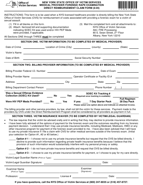 """Medical Provider Forensic Rape Examination Direct Reimbursement Claim Form"" - New York Download Pdf"
