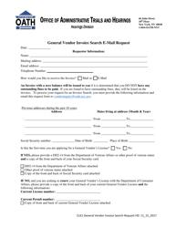 """Form CLK1 """"General Vendor Invoice Search E-Mail Request"""" - New York"""