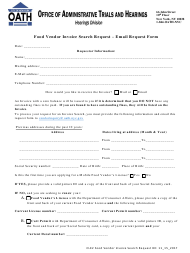 """""""Food Vendor Invoice Search Request - Email Request Form"""" - New York"""