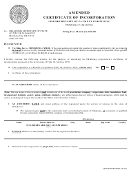 """SOS Form 0005 """"Amended Certificate of Incorporation (Before Receipt of Payment for Stock) - Oklahoma Corporation"""" - Oklahoma"""