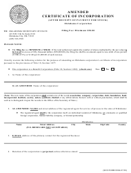 """SOS Form 0004 """"Amended Certificate of Incorporation (After Receipt of Payment for Stock) - Oklahoma Corporation"""" - Oklahoma"""