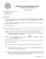 "SOS Form 0007 ""Certificate of Dissolution (Oklahoma Nonstock Corporation)"" - Oklahoma"