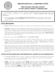 "SOS Form 0003 ""Professional Certificate of Incorporation (Oklahoma Corporation)"" - Oklahoma"