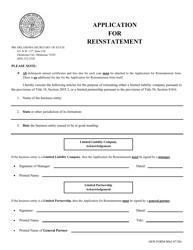 "SOS Form 0062 ""Application for Reinstatement"" - Oklahoma"