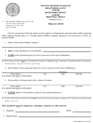 """SOS Form 0077 """"Change or Designation of Registered Agent and/or Registered Office and/or Principal Office (Foreign LLC)"""" - Oklahoma"""