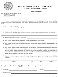 """SOS Form 0084 """"Application for Withdrawal (Foreign Limited Liability Company)"""" - Oklahoma"""