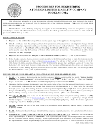 """SOS Form 0081 """"Application for Registration (Foreign Limited Liability Company)"""" - Oklahoma"""