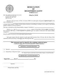 "SOS Form 0069 ""Resignation of Registered Agent (Foreign LLC)"" - Oklahoma"