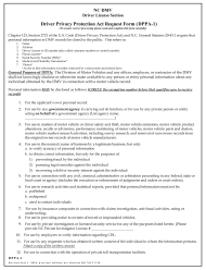 "Form DL-DPPA-1 ""Driver Privacy Protection Act Request Form"" - North Carolina"