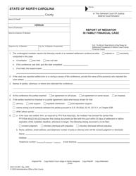 "Form AOC-CV-827 ""Report of Mediator in Family Financial Case"" - North Carolina"