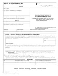 "Form AOC-CV-825 ""Designation of Mediator in Family Financial Case"" - North Carolina"
