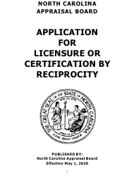 """Application for Licensure or Certification by Reciprocity"" - North Carolina"