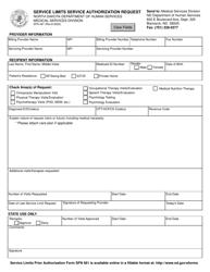 "Form SFN481 ""Service Limits Service Authorization Request"" - North Dakota"