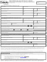 """Form SFN4598 """"Employment and Age Certificate - Minors"""" - North Dakota"""