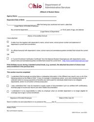 "Form ADM4729 ""Affidavit of Student Status"" - Ohio"