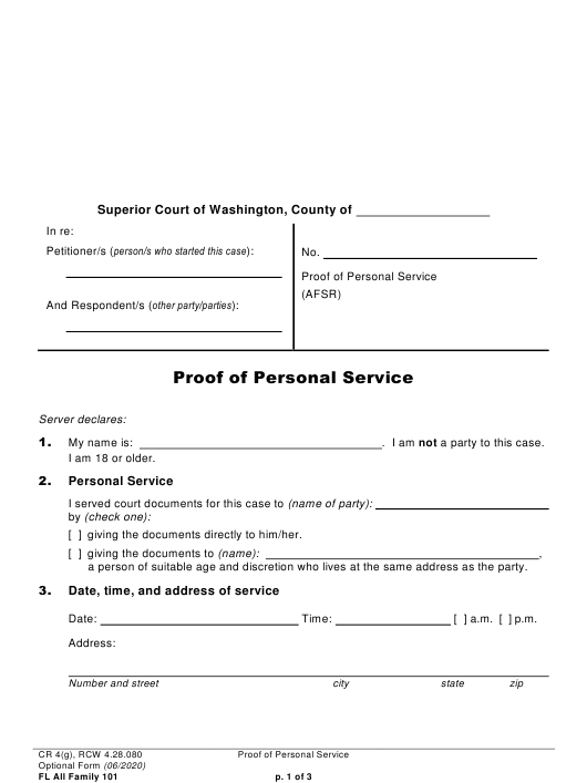 Form FL All Family101  Printable Pdf