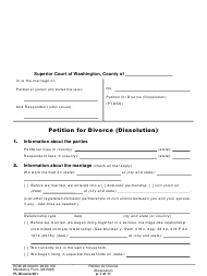 "Form FL Divorce201 ""Petition for Divorce (Dissolution)"" - Washington"