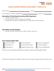 """Work Sample Reflection Sheet: Template"" - Oklahoma"