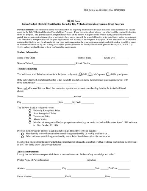 Form ED506  Printable Pdf