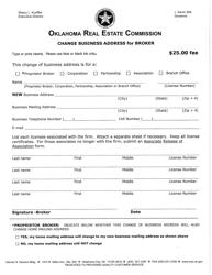 """""""Change Business Address for Broker"""" - Oklahoma"""