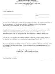 "Form 385-E ""Questionnaire"" - Oregon"