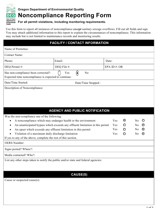 """Noncompliance Reporting Form"" - Oregon Download Pdf"