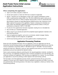 """Form ADP0448 """"Adult Foster Home (Afh) Initial License Application"""" - Oregon"""