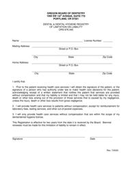 """Limitation of Liability Application"" - Oregon"