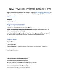 """New Prevention Program Request Form"" - Pennsylvania"