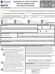 """Form HD1106F-O """"Application for a Birth Certificate With Fees Waived Under the Disaster Declaration"""" - Pennsylvania"""