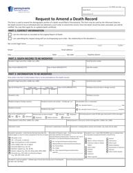 "Form HD002191 ""Request to Amend a Death Record"" - Pennsylvania"