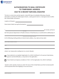 """Form HD002148 """"Authorization to Mail Certificate to Temporary Address Due to a Recent Natural Disaster"""" - Pennsylvania"""