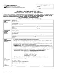 "Form UCC-1A ""Accessibility Advisory Board Petition"" - Pennsylvania"