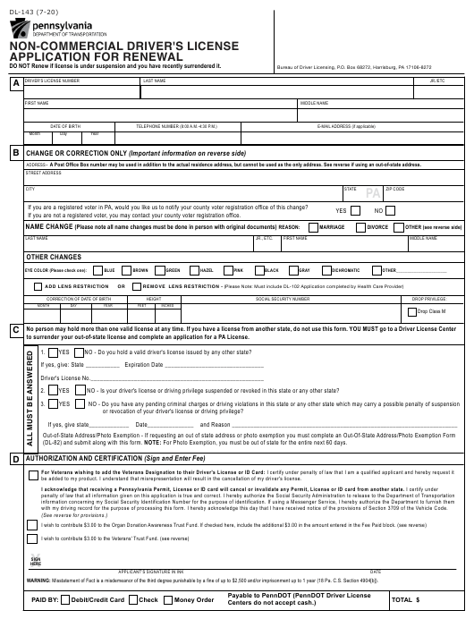 Form DL-143  Printable Pdf