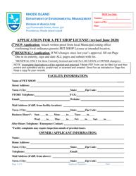 """Application for a Pet Shop License"" - Rhode Island"