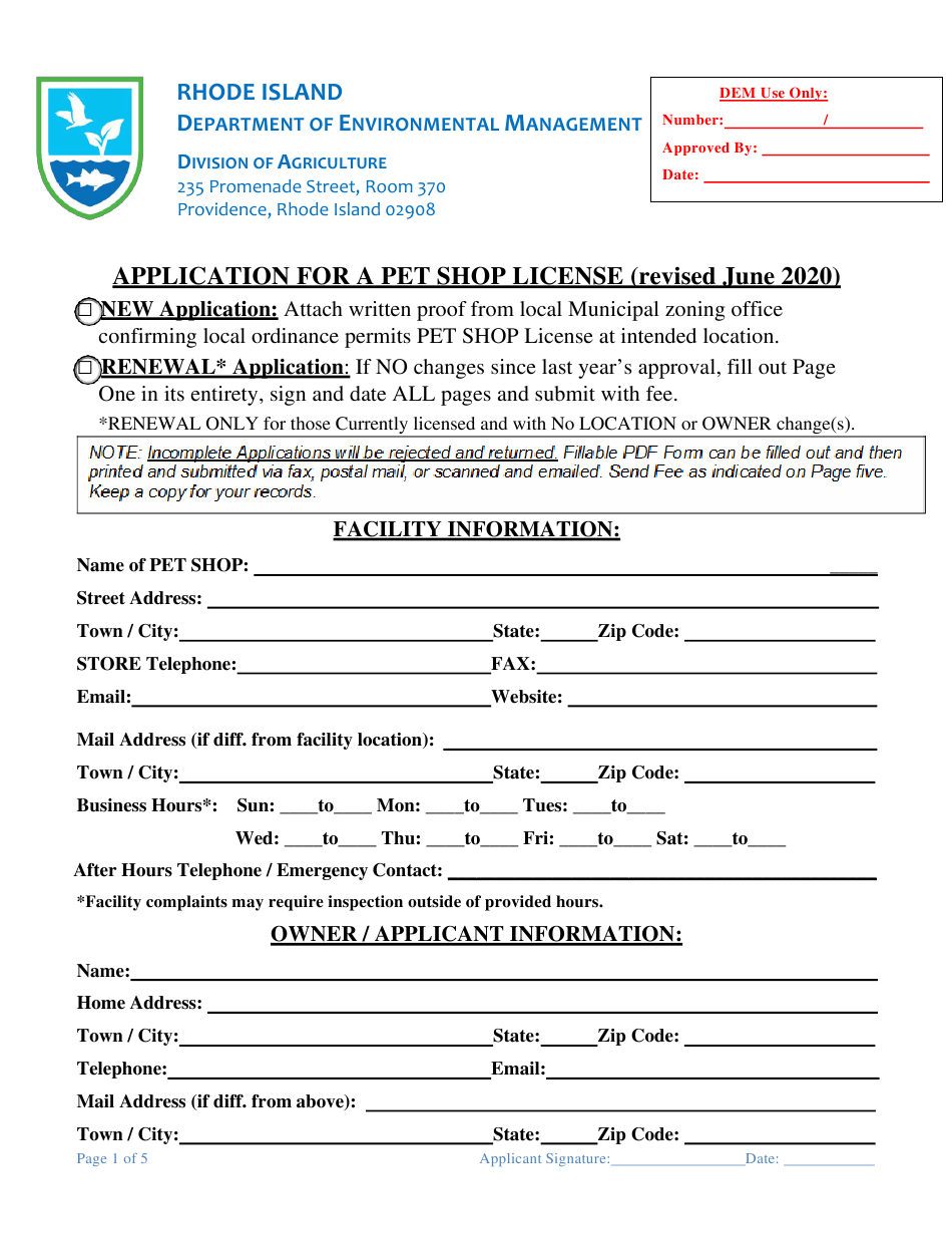 rhode island application for a pet shop license download