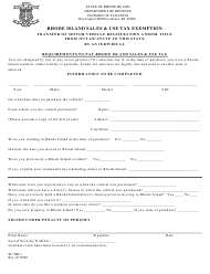 "Form SU-NR-1 ""Rhode Island Sales & Use Tax Exemption Transfer of Motor Vehicle Registration and/or Title From out-Of-State to This State by an Individual"" - Rhode Island"